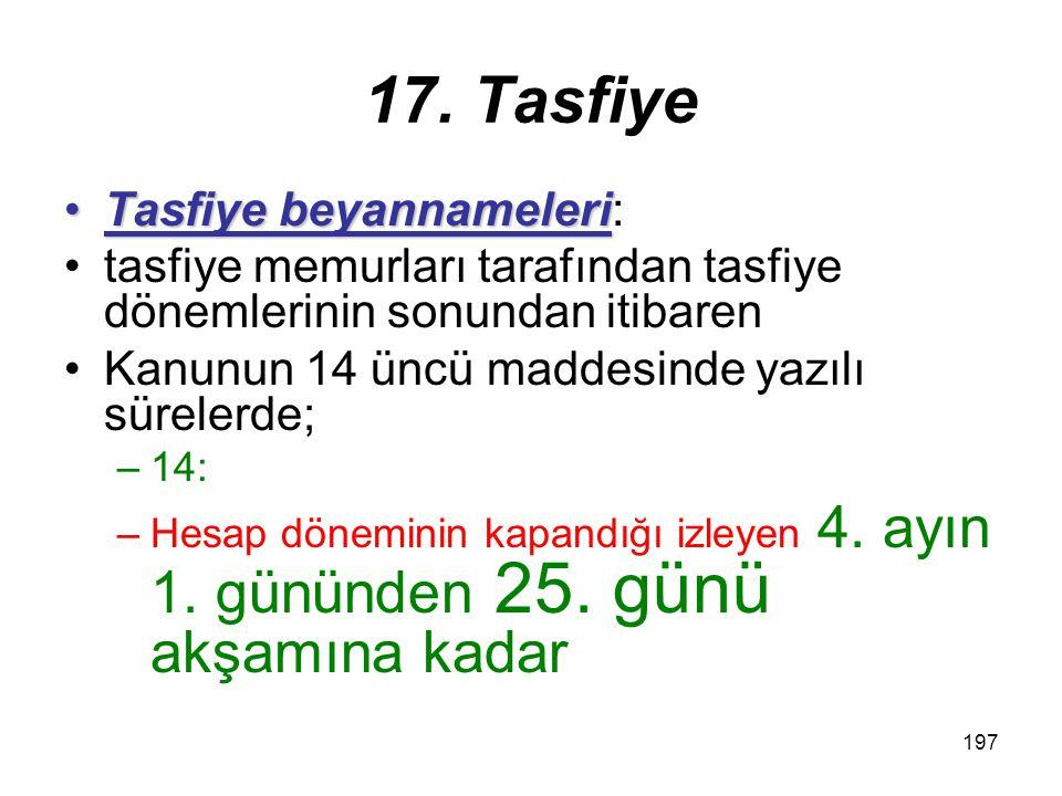 17. Tasfiye Tasfiye beyannameleri: