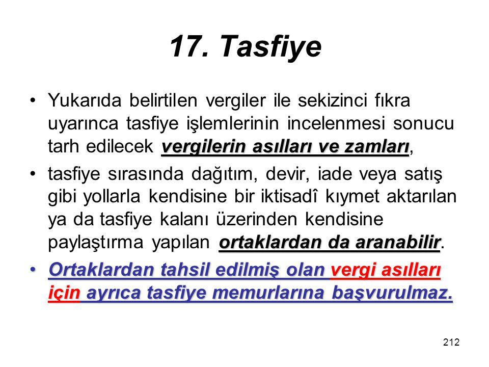 17. Tasfiye