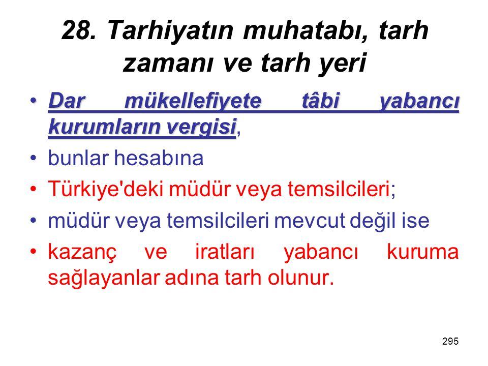 28. Tarhiyatın muhatabı, tarh zamanı ve tarh yeri