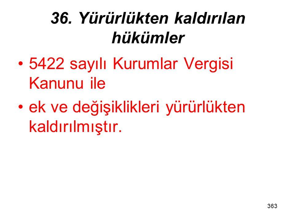 36. Yürürlükten kaldırılan hükümler
