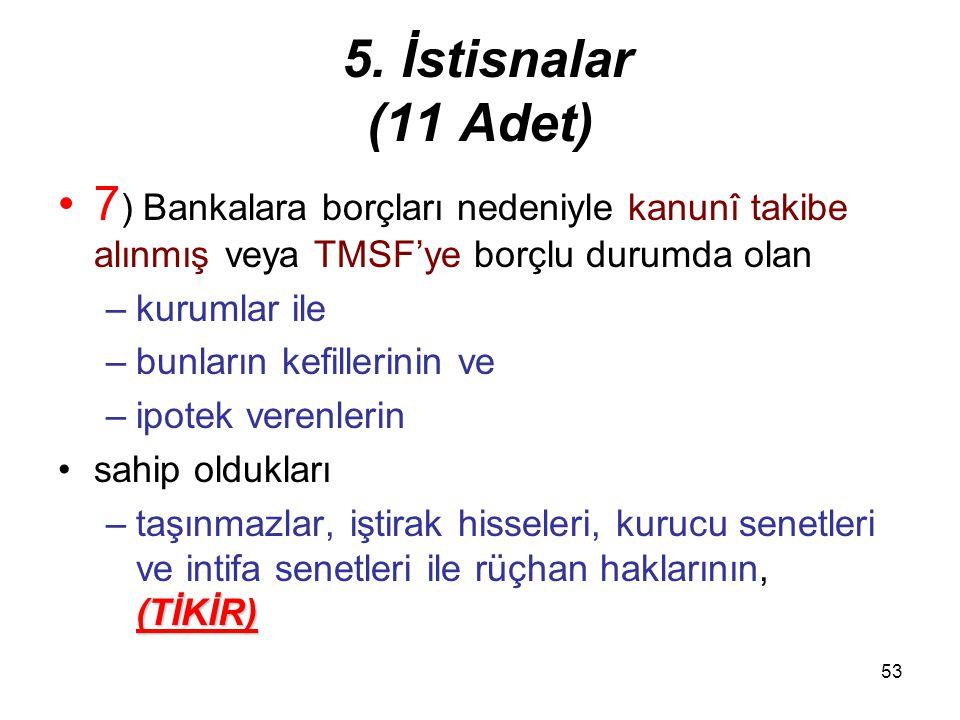 5. İstisnalar (11 Adet) 7) Bankalara borçları nedeniyle kanunî takibe alınmış veya TMSF'ye borçlu durumda olan.