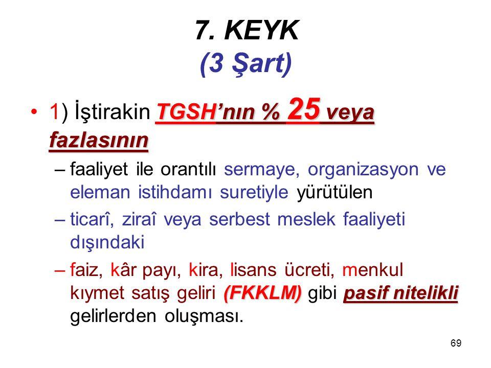 7. KEYK (3 Şart) 1) İştirakin TGSH'nın % 25 veya fazlasının