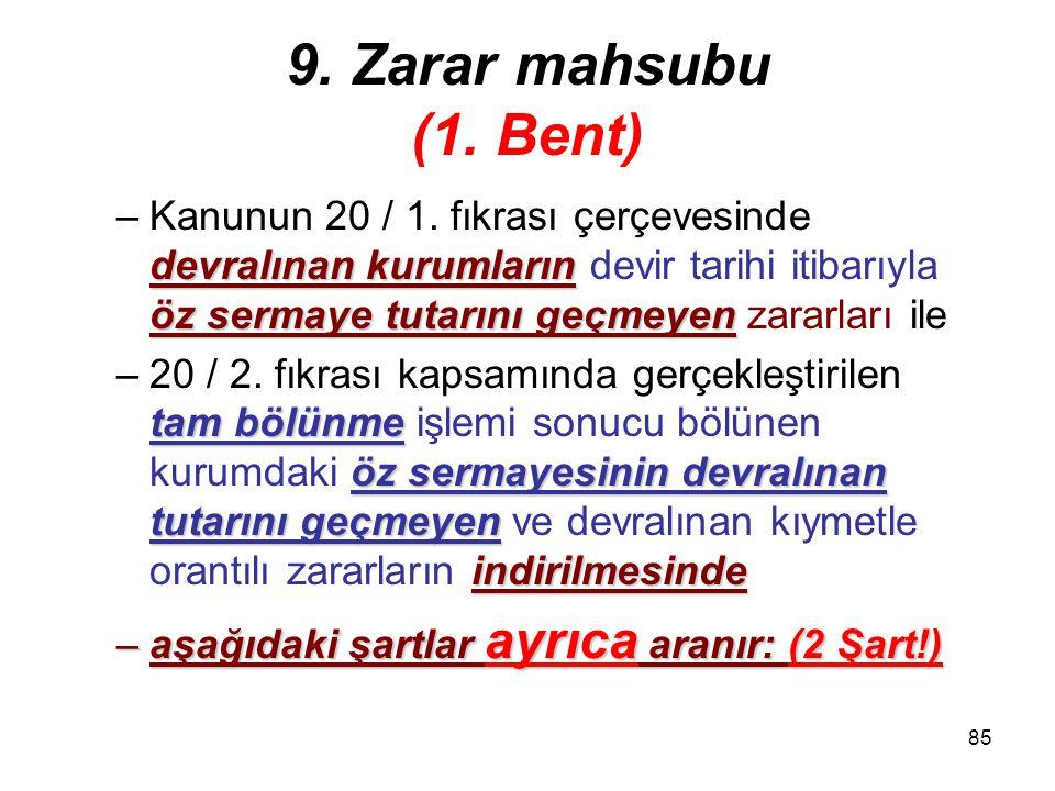 9. Zarar mahsubu (1. Bent)