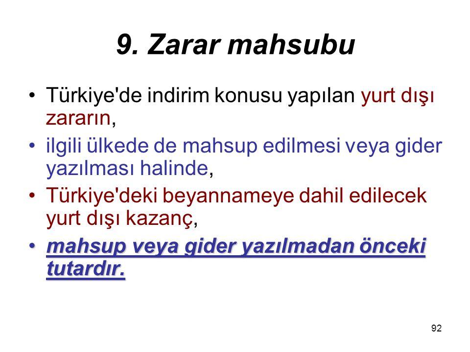 9. Zarar mahsubu Türkiye de indirim konusu yapılan yurt dışı zararın,
