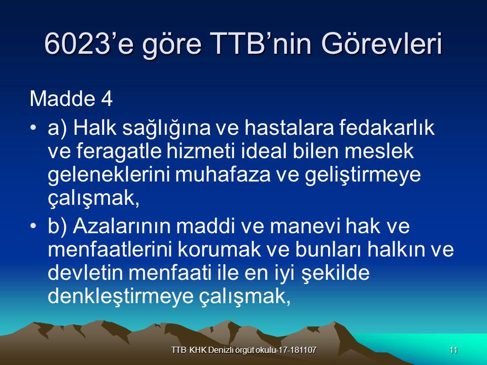 6023'e göre TTB'nin Görevleri