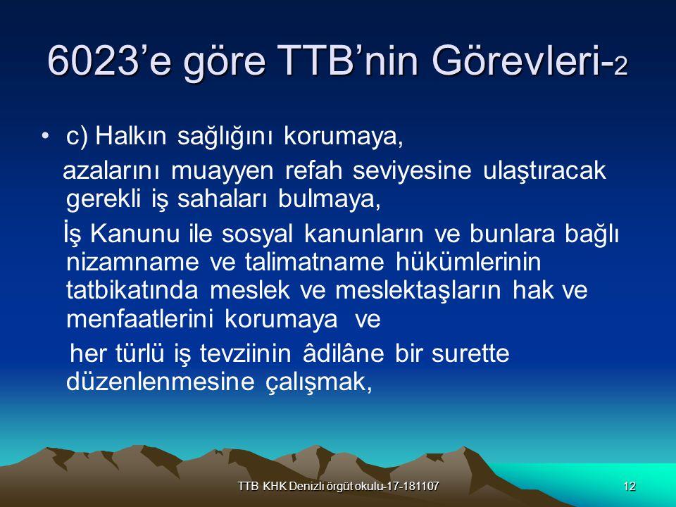 6023'e göre TTB'nin Görevleri-2