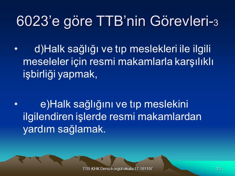 6023'e göre TTB'nin Görevleri-3
