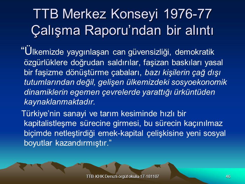 TTB Merkez Konseyi 1976-77 Çalışma Raporu'ndan bir alıntı