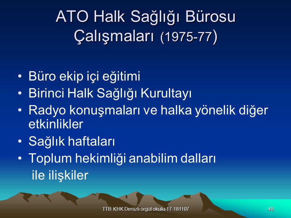 ATO Halk Sağlığı Bürosu Çalışmaları (1975-77)