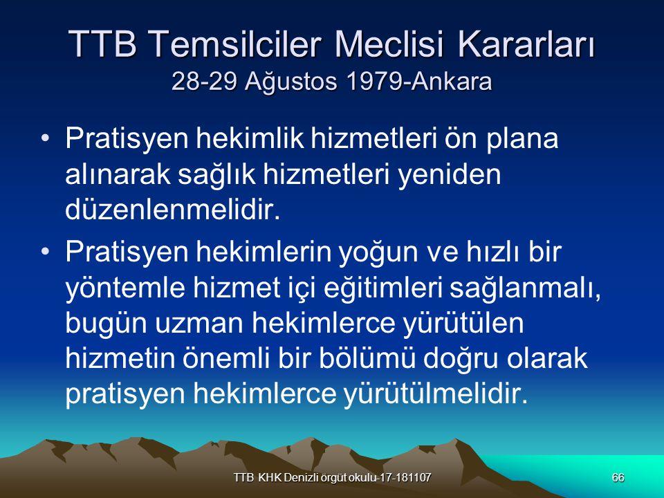 TTB Temsilciler Meclisi Kararları 28-29 Ağustos 1979-Ankara