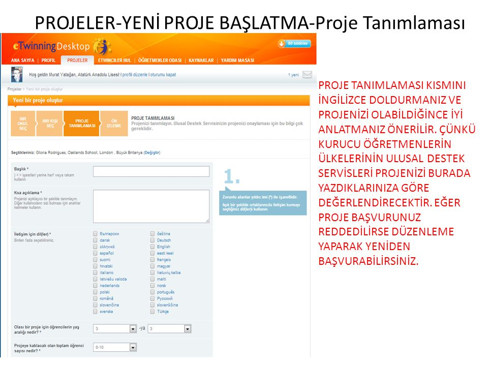 PROJELER-YENİ PROJE BAŞLATMA-Proje Tanımlaması