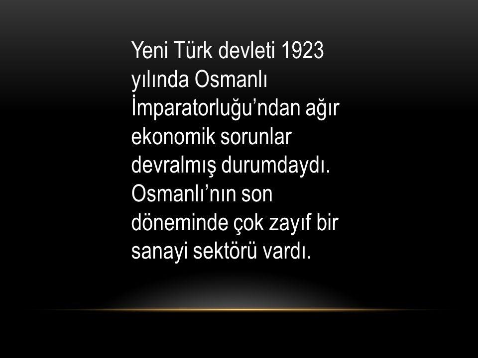 Yeni Türk devleti 1923 yılında Osmanlı İmparatorluğu'ndan ağır ekonomik sorunlar devralmış durumdaydı.