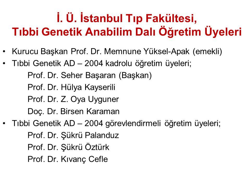 İ. Ü. İstanbul Tıp Fakültesi, Tıbbi Genetik Anabilim Dalı Öğretim Üyeleri