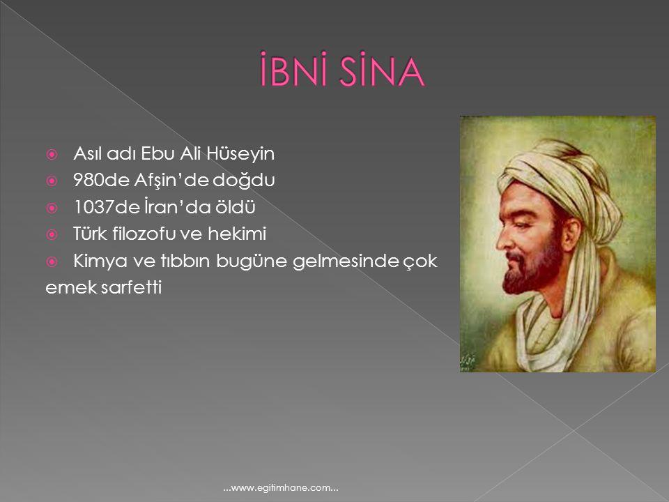 İBNİ SİNA Asıl adı Ebu Ali Hüseyin 980de Afşin'de doğdu