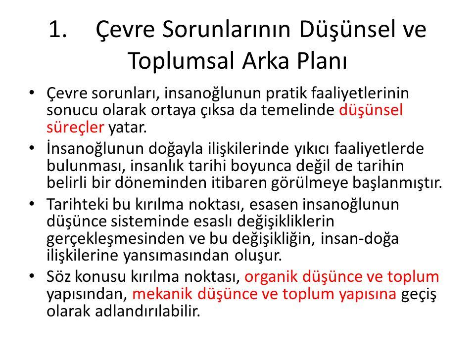 1. Çevre Sorunlarının Düşünsel ve Toplumsal Arka Planı