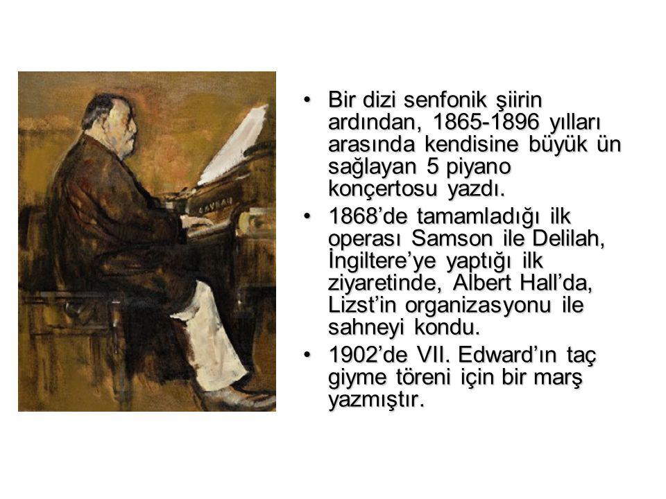 Bir dizi senfonik şiirin ardından, 1865-1896 yılları arasında kendisine büyük ün sağlayan 5 piyano konçertosu yazdı.