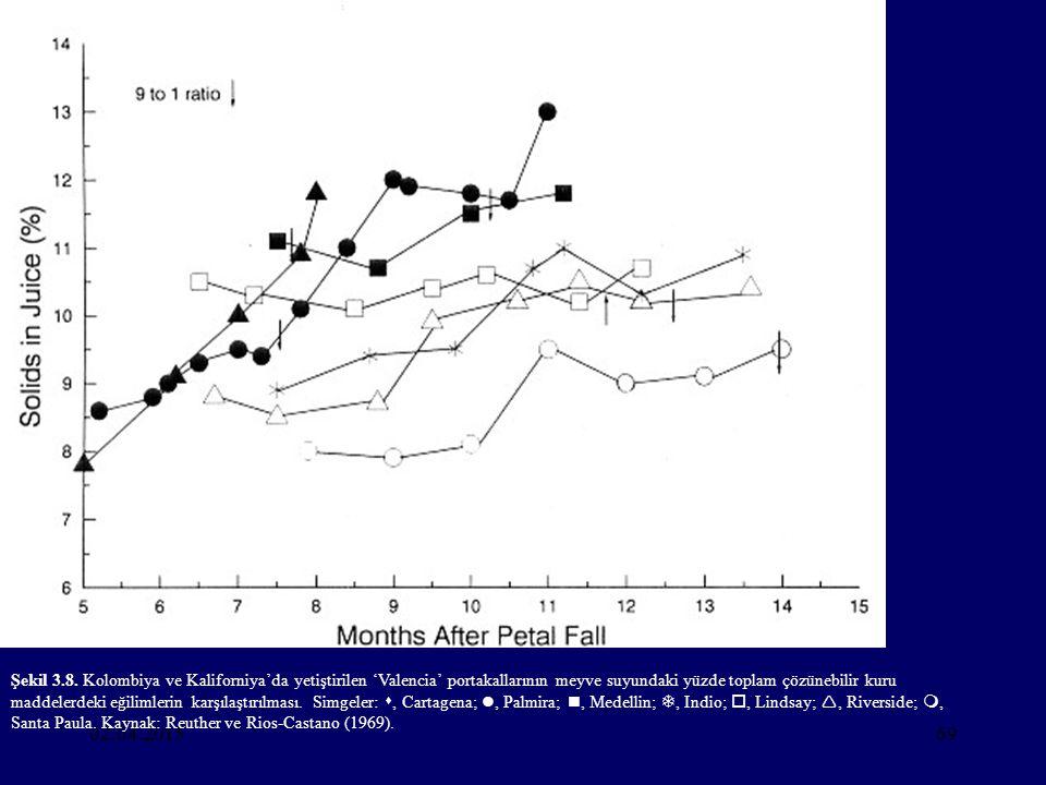 Şekil 3.8. Kolombiya ve Kaliforniya'da yetiştirilen 'Valencia' portakallarının meyve suyundaki yüzde toplam çözünebilir kuru maddelerdeki eğilimlerin karşılaştırılması. Simgeler: , Cartagena; , Palmira; , Medellin; , Indio; , Lindsay; , Riverside; , Santa Paula. Kaynak: Reuther ve Rios-Castano (1969).