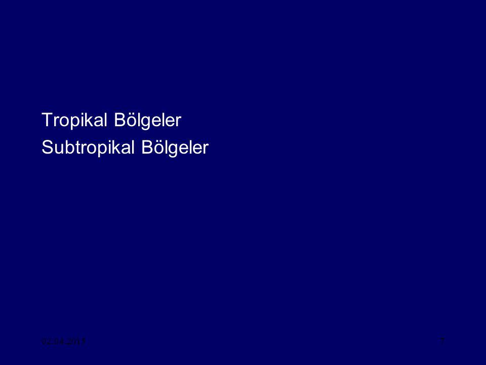 Tropikal Bölgeler Subtropikal Bölgeler 09.04.2017