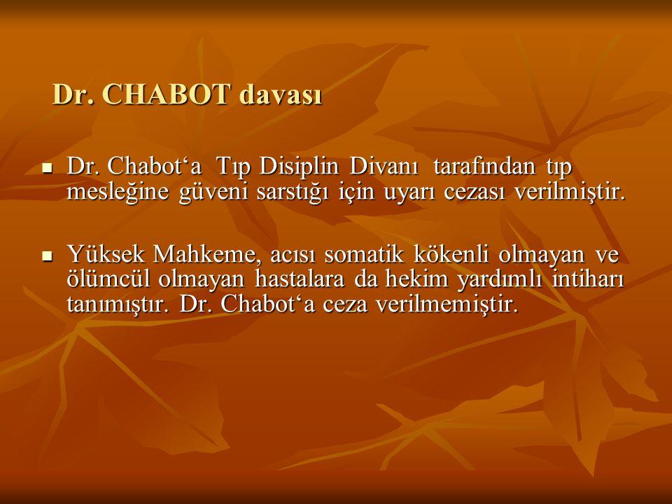 Dr. CHABOT davası Dr. Chabot'a Tıp Disiplin Divanı tarafından tıp mesleğine güveni sarstığı için uyarı cezası verilmiştir.