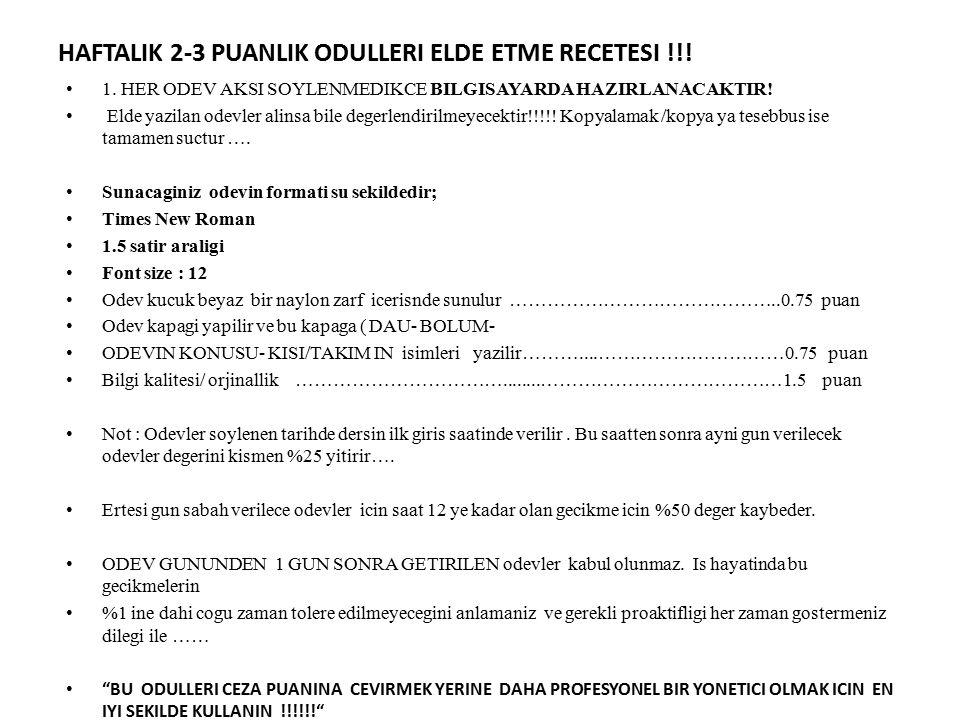 HAFTALIK 2-3 PUANLIK ODULLERI ELDE ETME RECETESI !!!