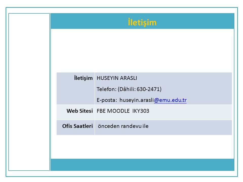 İletişim İletişim HUSEYIN ARASLI Telefon: (Dâhili: 630-2471)