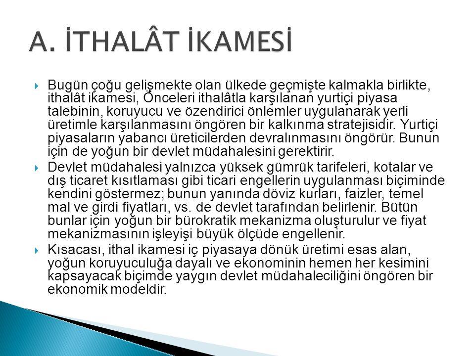 A. İTHALÂT İKAMESİ