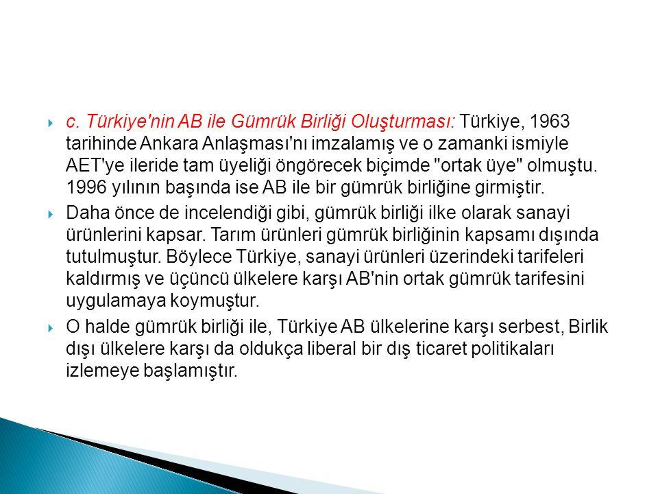 c. Türkiye nin AB ile Gümrük Birliği Oluşturması: Türkiye, 1963 tarihinde Ankara Anlaşması nı imzalamış ve o zamanki ismiyle AET ye ileride tam üyeliği öngörecek biçimde ortak üye olmuştu. 1996 yılının başında ise AB ile bir gümrük birliğine girmiştir.