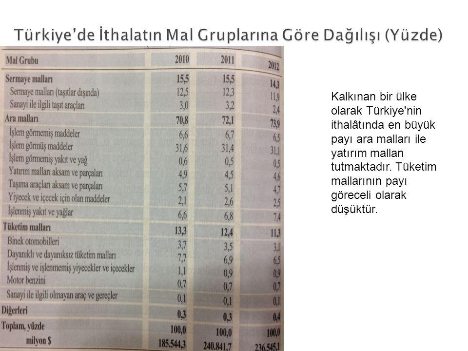 Türkiye'de İthalatın Mal Gruplarına Göre Dağılışı (Yüzde)