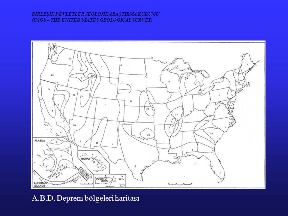 A.B.D. Deprem bölgeleri haritası