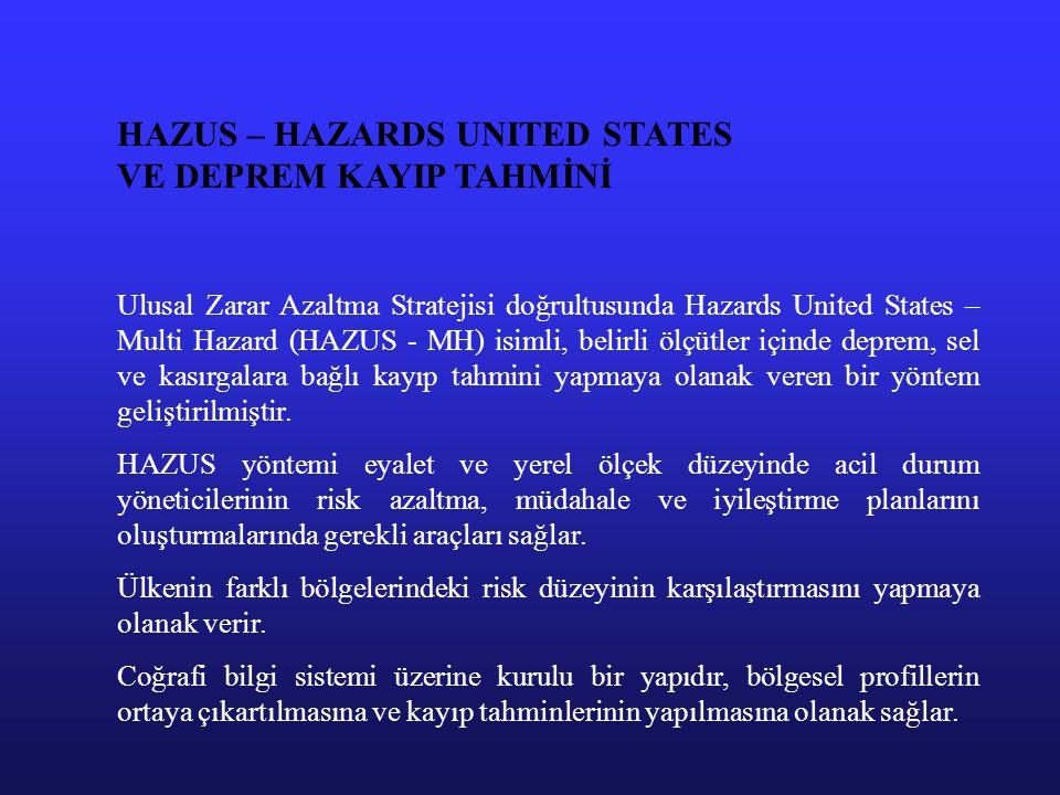 HAZUS – HAZARDS UNITED STATES VE DEPREM KAYIP TAHMİNİ