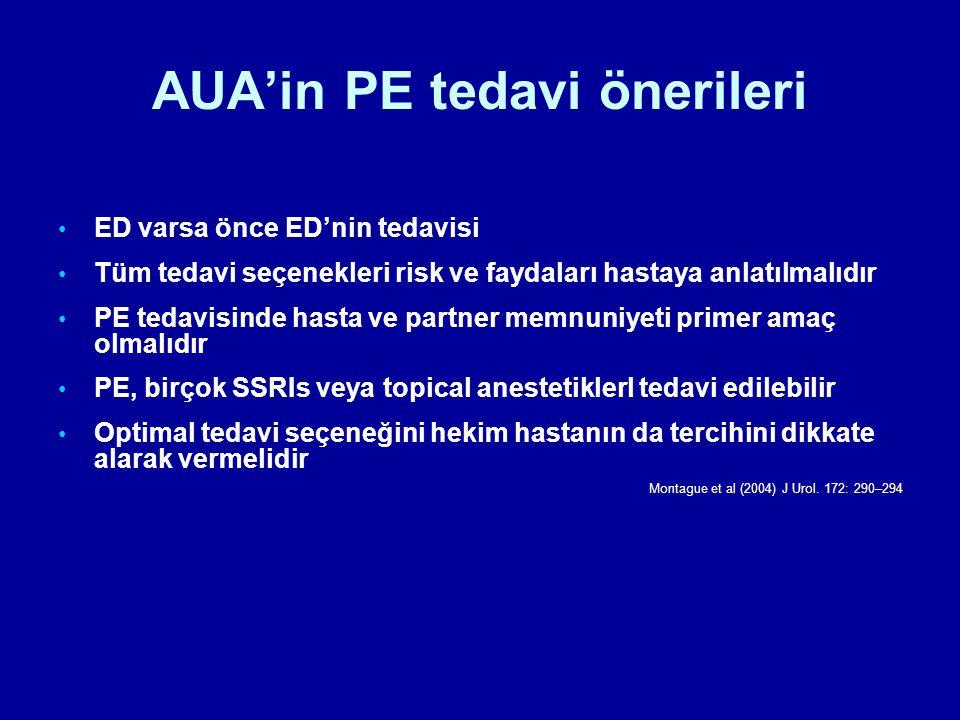 AUA'in PE tedavi önerileri