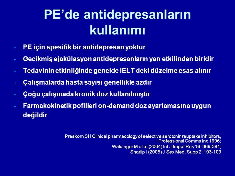 PE'de antidepresanların kullanımı