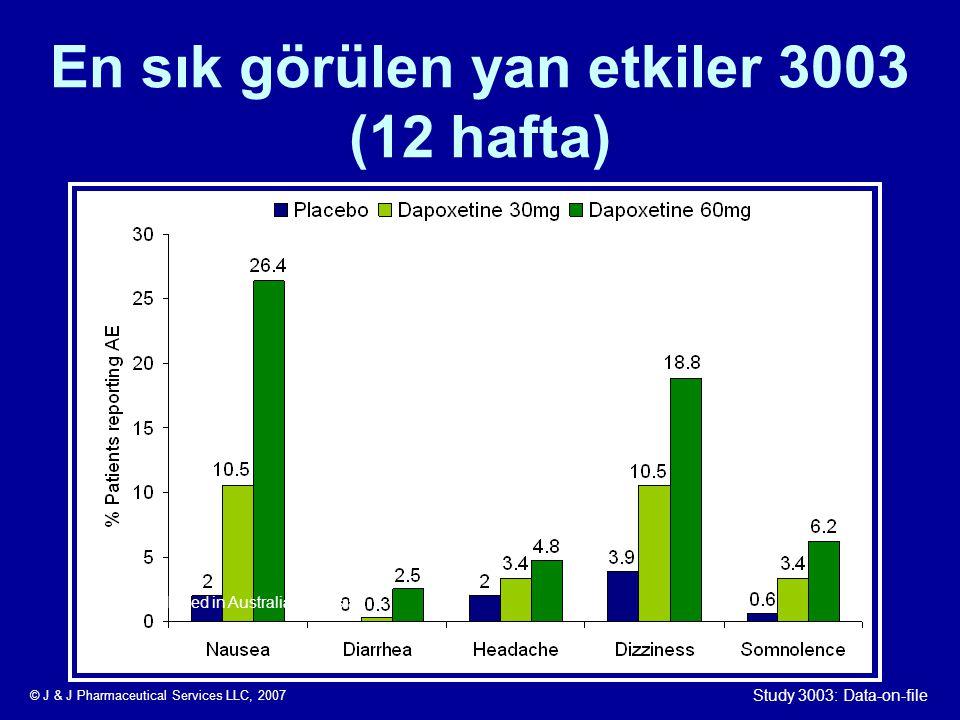 En sık görülen yan etkiler 3003 (12 hafta)