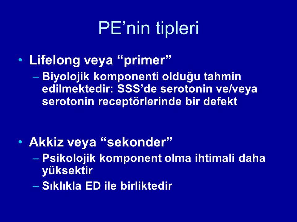 PE'nin tipleri Lifelong veya primer Akkiz veya sekonder