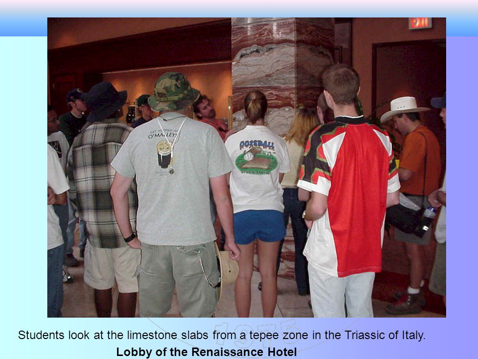 Students look at the limestone slabs from a tepee zone in the Triassic of Italy.