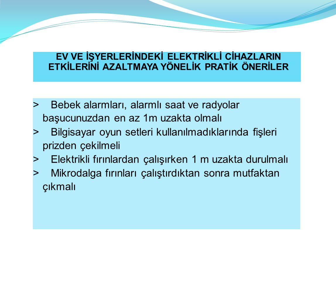 > Elektrikli fırınlardan çalışırken 1 m uzakta durulmalı