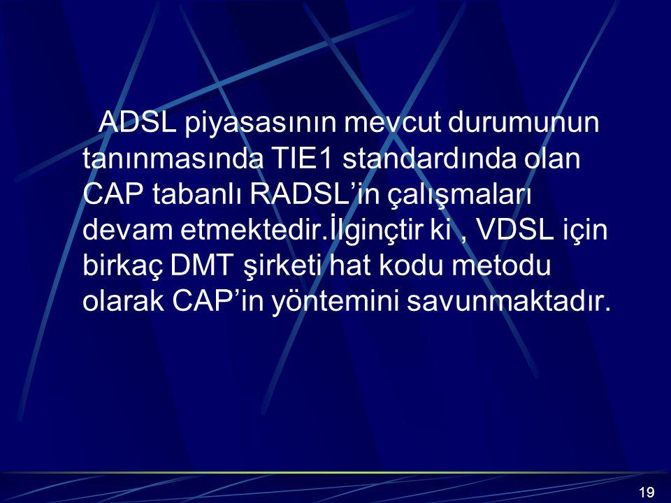 ADSL piyasasının mevcut durumunun tanınmasında TIE1 standardında olan CAP tabanlı RADSL'in çalışmaları devam etmektedir.İlginçtir ki , VDSL için birkaç DMT şirketi hat kodu metodu olarak CAP'in yöntemini savunmaktadır.