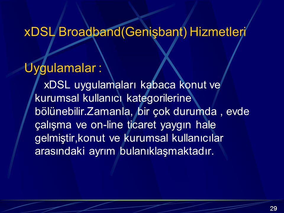 xDSL Broadband(Genişbant) Hizmetleri Uygulamalar :