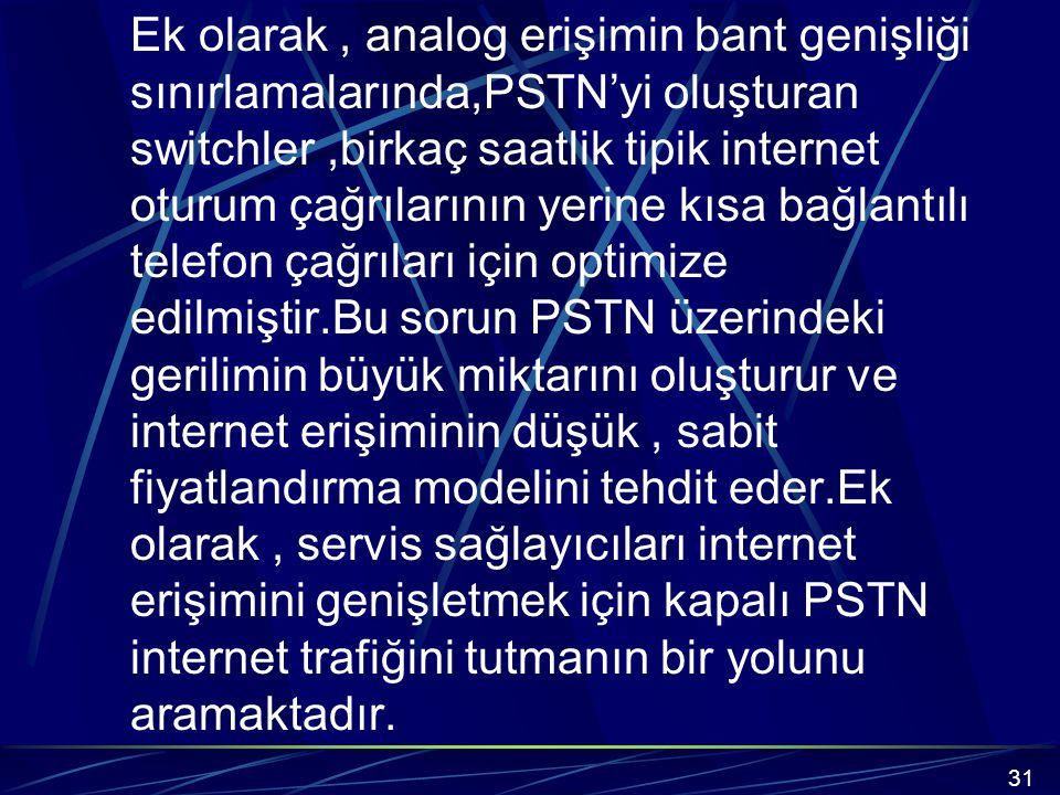 Ek olarak , analog erişimin bant genişliği sınırlamalarında,PSTN'yi oluşturan switchler ,birkaç saatlik tipik internet oturum çağrılarının yerine kısa bağlantılı telefon çağrıları için optimize edilmiştir.Bu sorun PSTN üzerindeki gerilimin büyük miktarını oluşturur ve internet erişiminin düşük , sabit fiyatlandırma modelini tehdit eder.Ek olarak , servis sağlayıcıları internet erişimini genişletmek için kapalı PSTN internet trafiğini tutmanın bir yolunu aramaktadır.