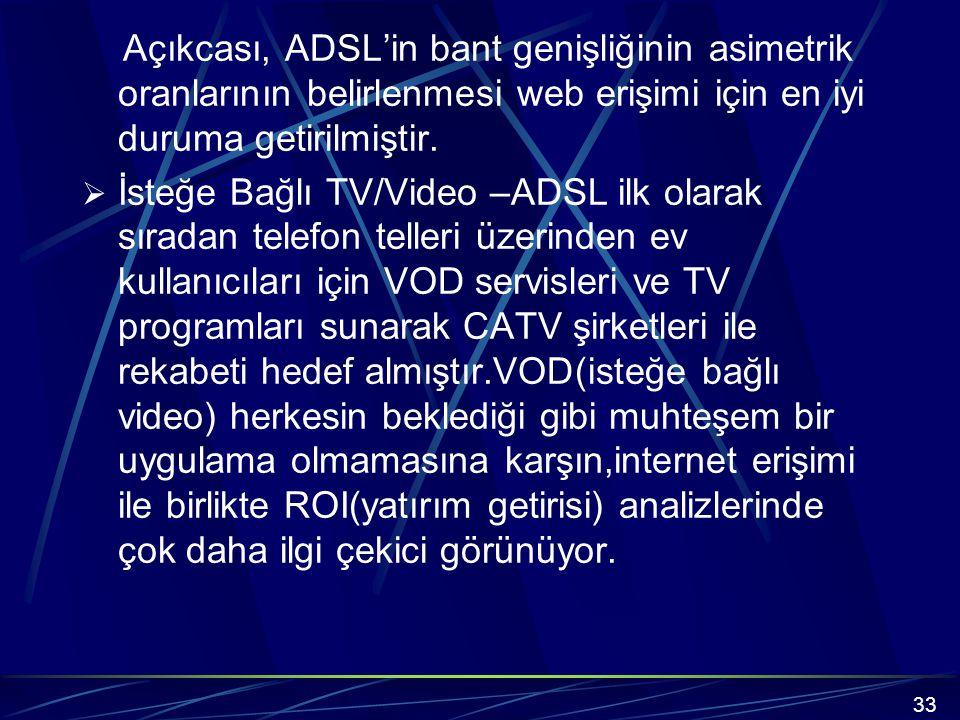 Açıkcası, ADSL'in bant genişliğinin asimetrik oranlarının belirlenmesi web erişimi için en iyi duruma getirilmiştir.