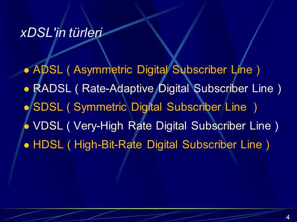 xDSL in türleri ADSL ( Asymmetric Digital Subscriber Line )