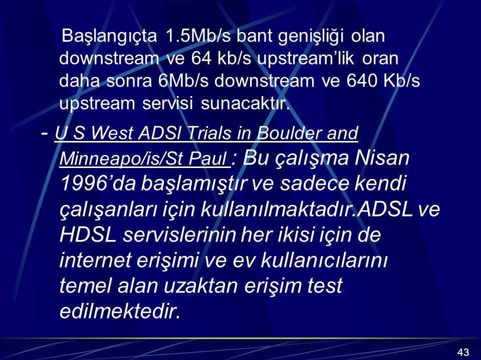 Başlangıçta 1.5Mb/s bant genişliği olan downstream ve 64 kb/s upstream'lik oran daha sonra 6Mb/s downstream ve 640 Kb/s upstream servisi sunacaktır.
