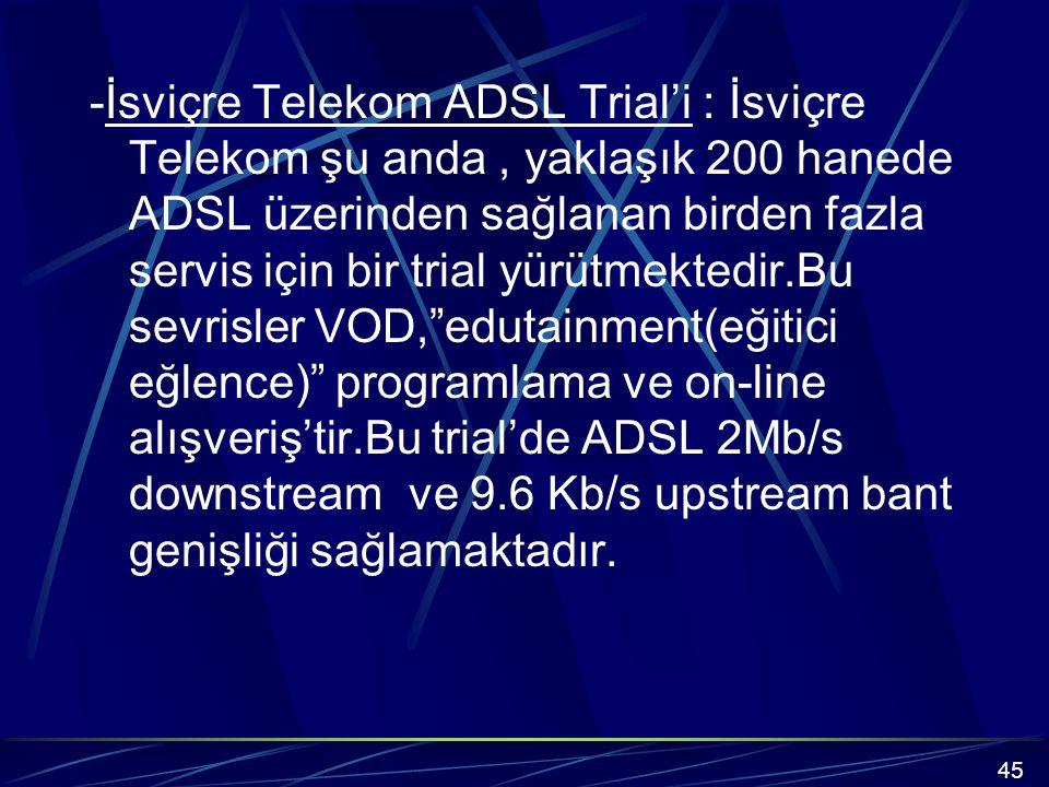 -İsviçre Telekom ADSL Trial'i : İsviçre Telekom şu anda , yaklaşık 200 hanede ADSL üzerinden sağlanan birden fazla servis için bir trial yürütmektedir.Bu sevrisler VOD, edutainment(eğitici eğlence) programlama ve on-line alışveriş'tir.Bu trial'de ADSL 2Mb/s downstream ve 9.6 Kb/s upstream bant genişliği sağlamaktadır.