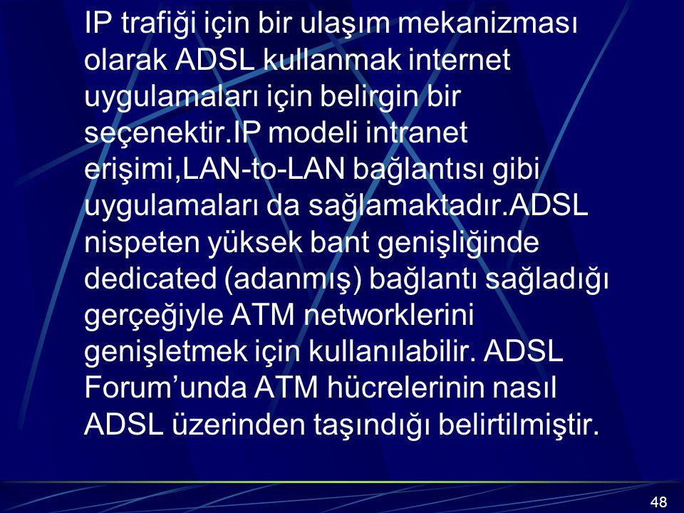 IP trafiği için bir ulaşım mekanizması olarak ADSL kullanmak internet uygulamaları için belirgin bir seçenektir.IP modeli intranet erişimi,LAN-to-LAN bağlantısı gibi uygulamaları da sağlamaktadır.ADSL nispeten yüksek bant genişliğinde dedicated (adanmış) bağlantı sağladığı gerçeğiyle ATM networklerini genişletmek için kullanılabilir. ADSL Forum'unda ATM hücrelerinin nasıl ADSL üzerinden taşındığı belirtilmiştir.