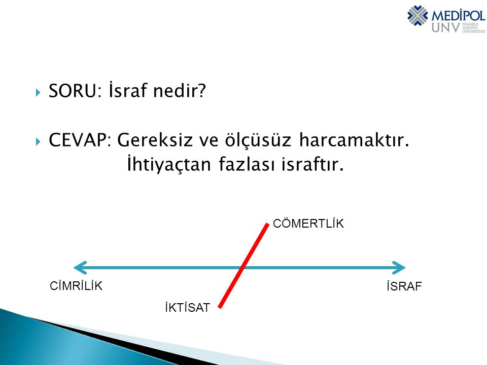 CEVAP: Gereksiz ve ölçüsüz harcamaktır. İhtiyaçtan fazlası israftır.