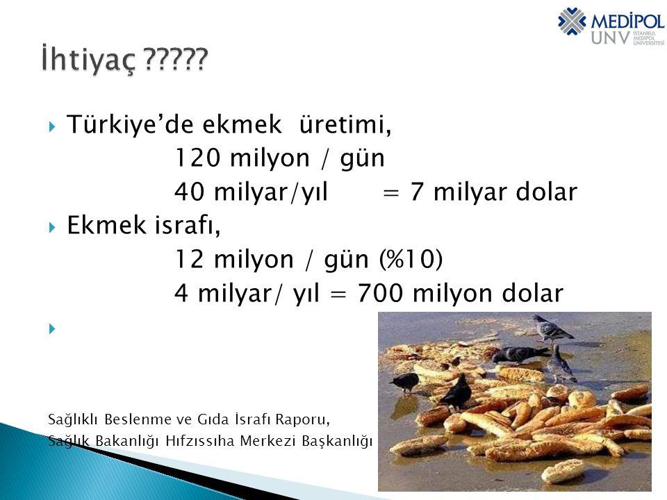 İhtiyaç Türkiye'de ekmek üretimi, 120 milyon / gün