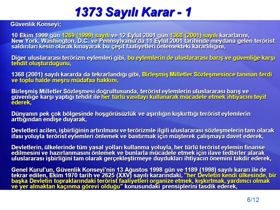 1373 Sayılı Karar - 1