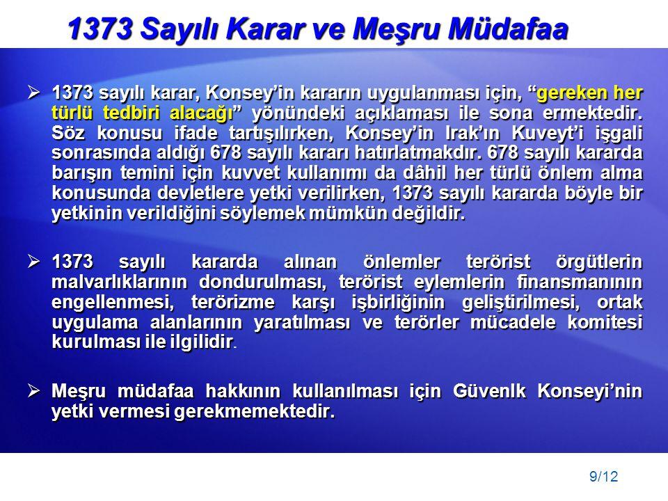 1373 Sayılı Karar ve Meşru Müdafaa