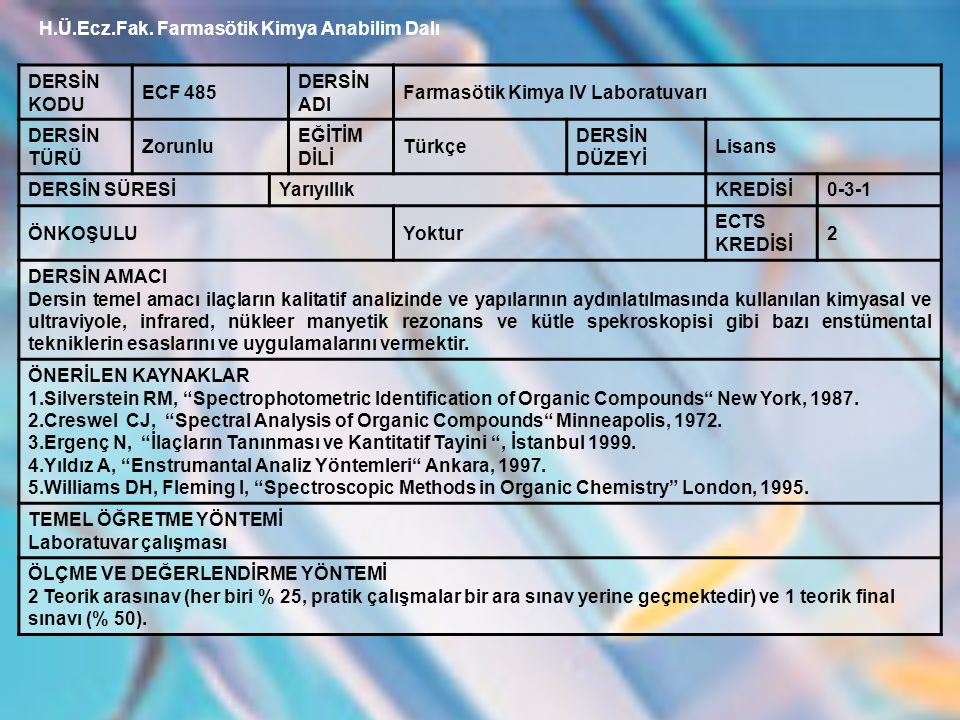 H.Ü.Ecz.Fak. Farmasötik Kimya Anabilim Dalı