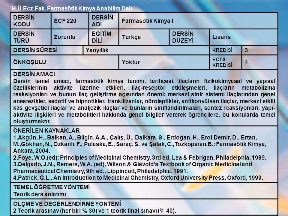 H.Ü.Ecz.Fak. Farmasötik Kimya Anabilim Dalı DERSİN KODU ECF 220